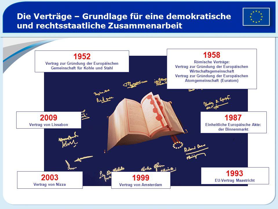 1952 Vertrag zur Gründung der Europäischen Gemeinschaft für Kohle und Stahl 1958 Römische Verträge: Vertrag zur Gründung der Europäischen Wirtschaftsg