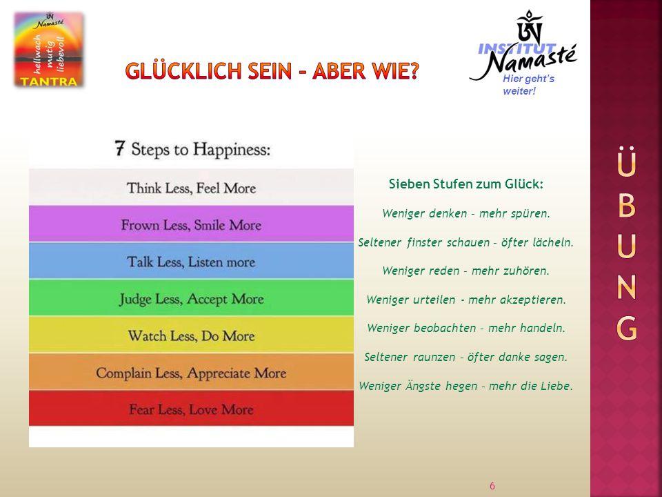 6 Hier geht's weiter.Sieben Stufen zum Glück: Weniger denken – mehr spüren.