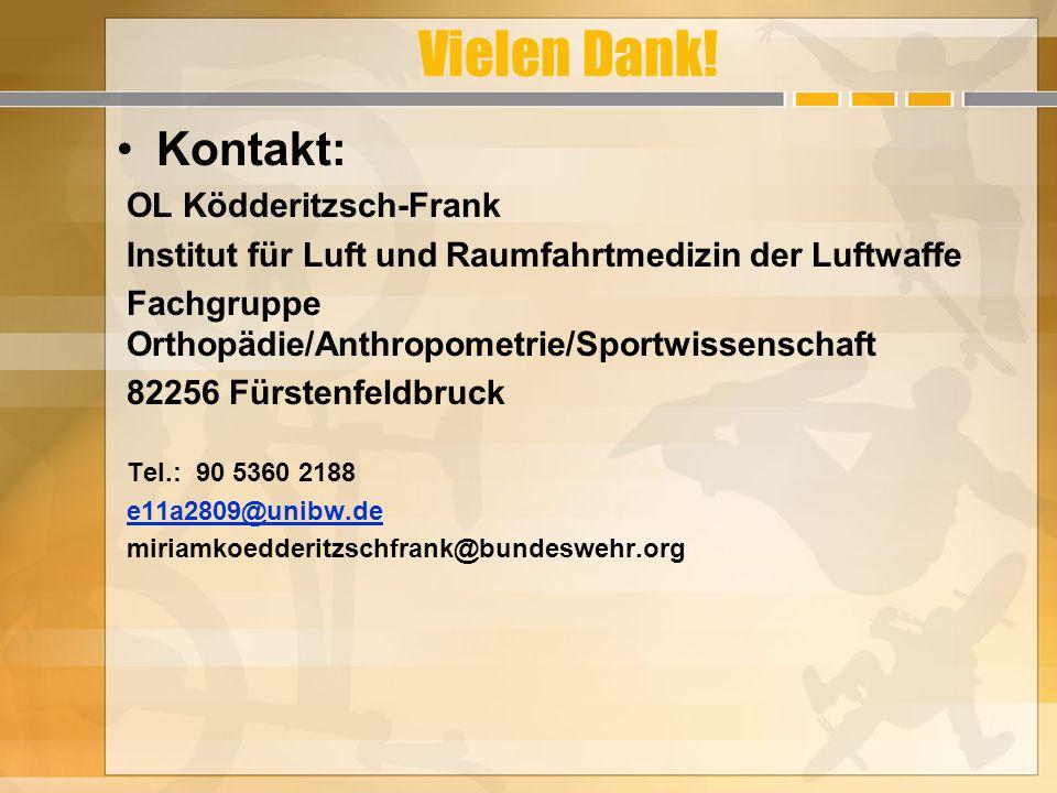 Vielen Dank! Kontakt: OL Ködderitzsch-Frank Institut für Luft und Raumfahrtmedizin der Luftwaffe Fachgruppe Orthopädie/Anthropometrie/Sportwissenschaf