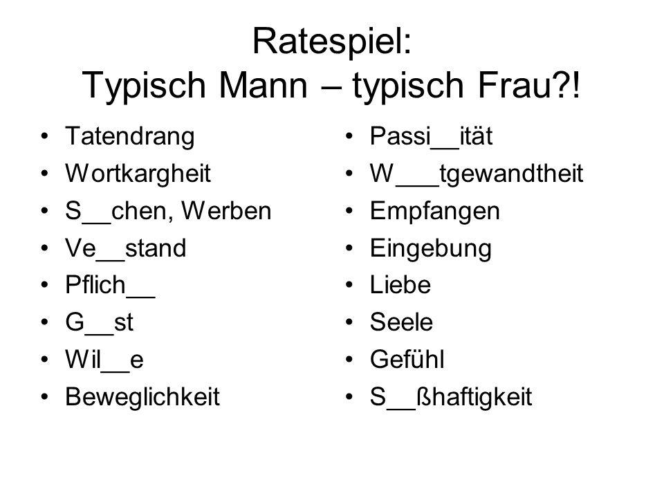 Ratespiel: Typisch Mann – typisch Frau?.