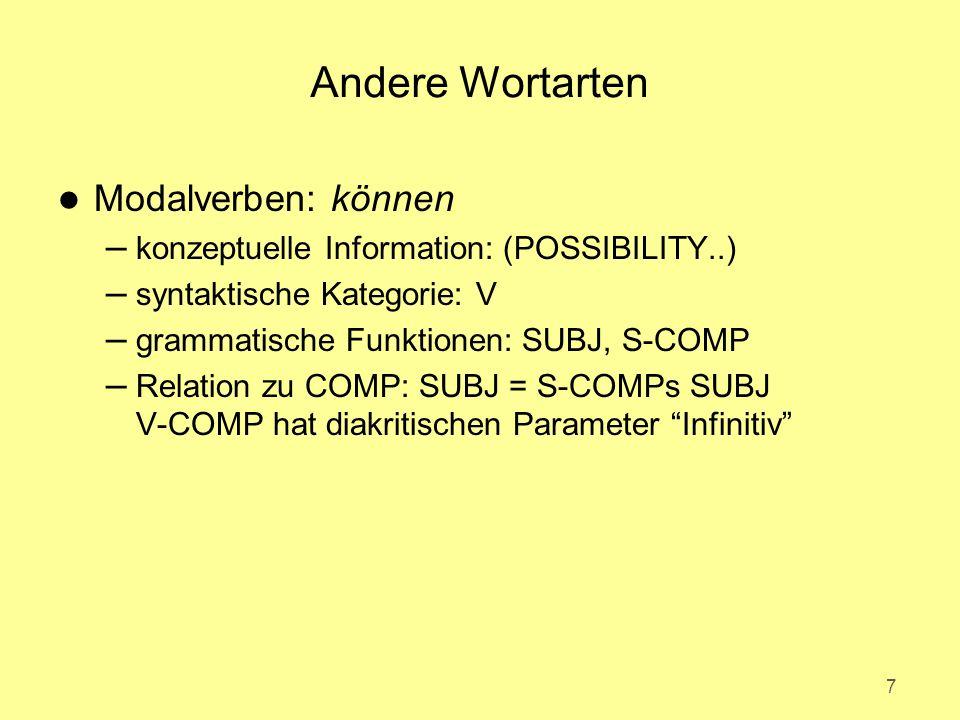 Andere Wortarten l Modalverben: können – konzeptuelle Information: (POSSIBILITY..) – syntaktische Kategorie: V – grammatische Funktionen: SUBJ, S-COMP – Relation zu COMP: SUBJ = S-COMPs SUBJ V-COMP hat diakritischen Parameter Infinitiv 7