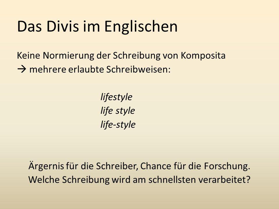 Das Divis im Englischen Keine Normierung der Schreibung von Komposita  mehrere erlaubte Schreibweisen: lifestyle life-style Ärgernis für die Schreiber, Chance für die Forschung.