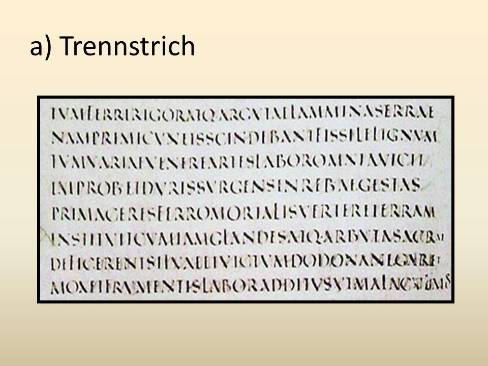 a) Trennstrich