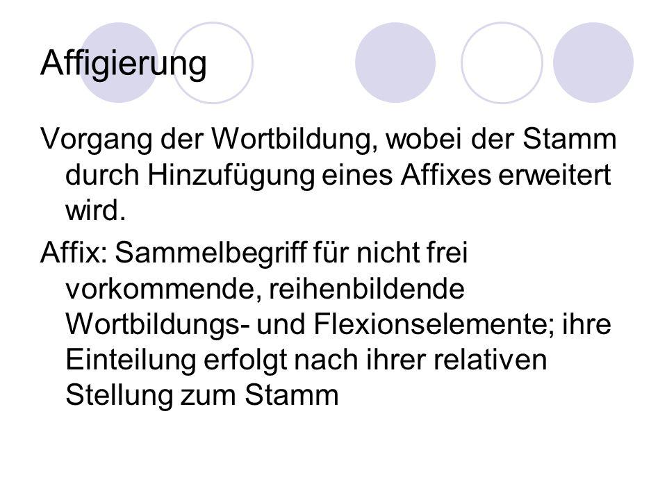 Affigierung Vorgang der Wortbildung, wobei der Stamm durch Hinzufügung eines Affixes erweitert wird. Affix: Sammelbegriff für nicht frei vorkommende,