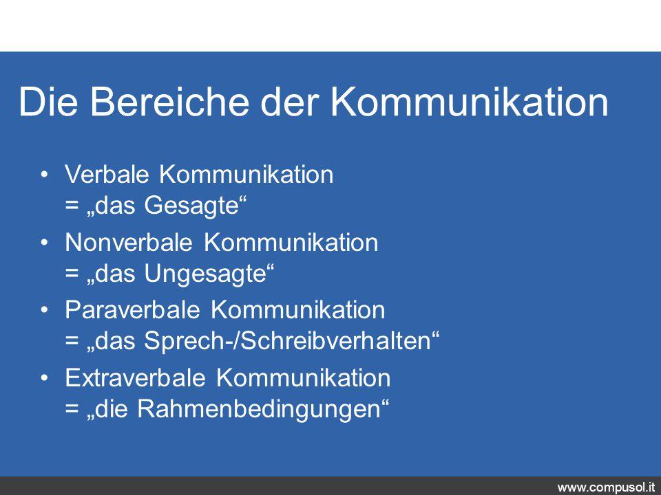 """www.compusol.it Die Bereiche der Kommunikation Verbale Kommunikation = """"das Gesagte Nonverbale Kommunikation = """"das Ungesagte Paraverbale Kommunikation = """"das Sprech-/Schreibverhalten Extraverbale Kommunikation = """"die Rahmenbedingungen"""