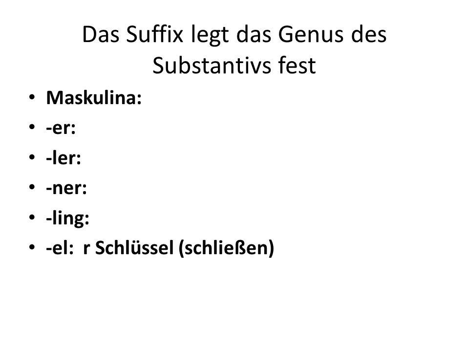 Das Suffix legt das Genus des Substantivs fest Maskulina: -er: -ler: -ner: -ling: -el: r Schlüssel (schließen)