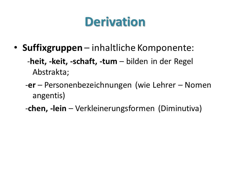 Derivation Suffixgruppen – inhaltliche Komponente: -heit, -keit, -schaft, -tum – bilden in der Regel Abstrakta; -er – Personenbezeichnungen (wie Lehre