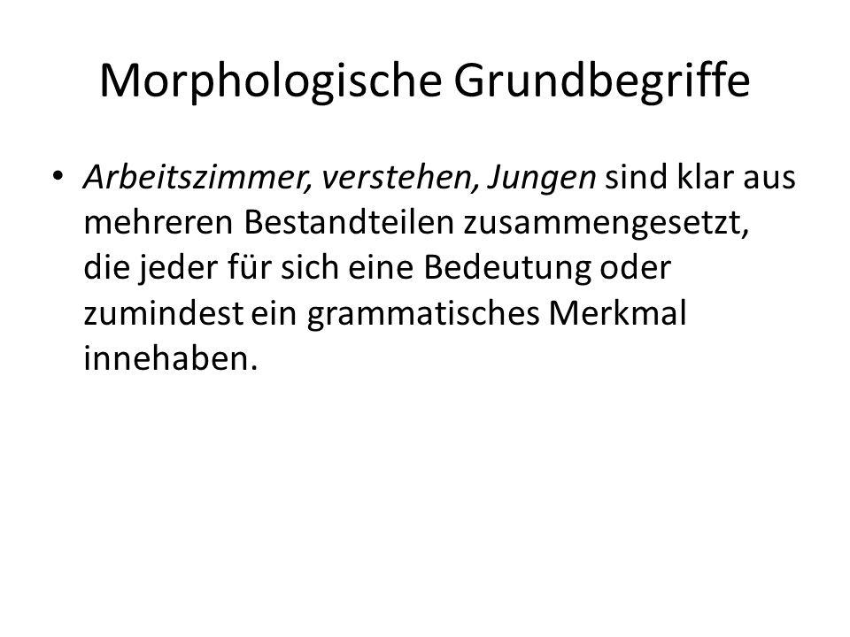 Morphologische Grundbegriffe Morphem Morphem – kleinste bedeutungstragende Einheit der Sprache, bestehend aus einem Morph oder mehreren Allmorphen (Ausdrucksseite) und einer Bedeutung bzw.