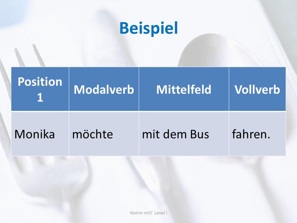 Beispiel Position 1 ModalverbMittelfeldVollverb Monikamöchtemit dem Busfahren. Komm mit! Level I