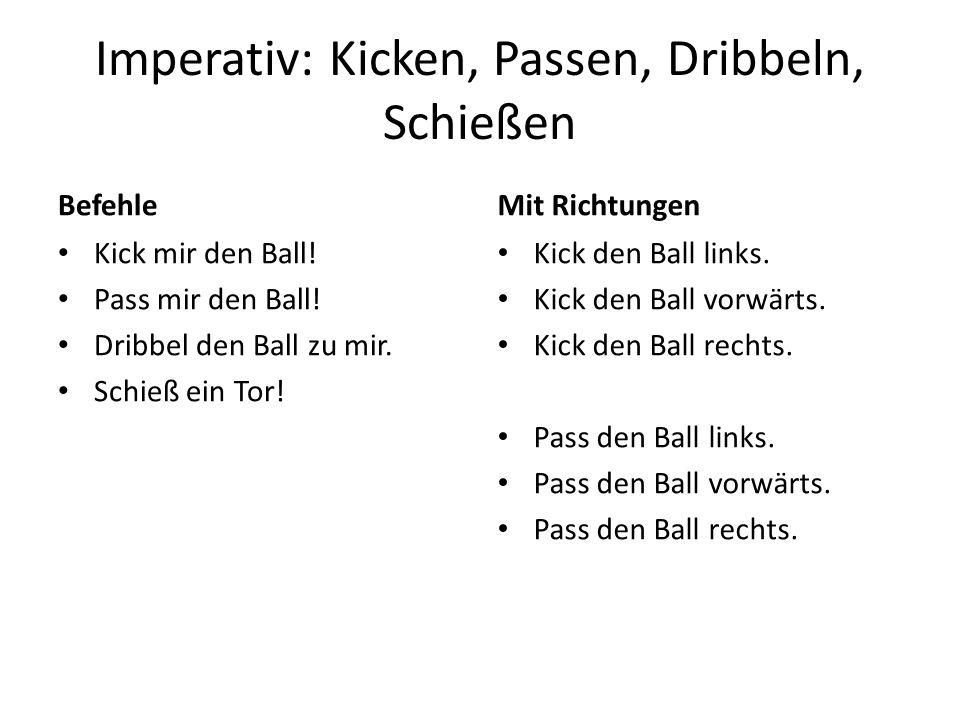 Imperativ: Kicken, Passen, Dribbeln, Schießen Befehle Kick mir den Ball.
