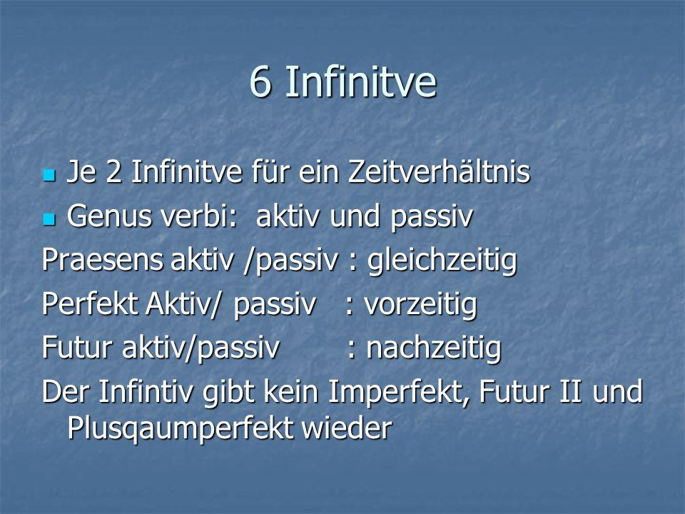6 Infinitve Je 2 Infinitve für ein Zeitverhältnis Je 2 Infinitve für ein Zeitverhältnis Genus verbi: aktiv und passiv Genus verbi: aktiv und passiv Pr