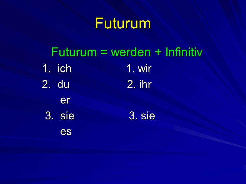 Futurum Futurum = werden + Infinitiv Futurum = werden + Infinitiv 1. ich 1. wir 1. ich 1. wir 2. du 2. ihr 2. du 2. ihr er er 3. sie 3. sie 3. sie 3.