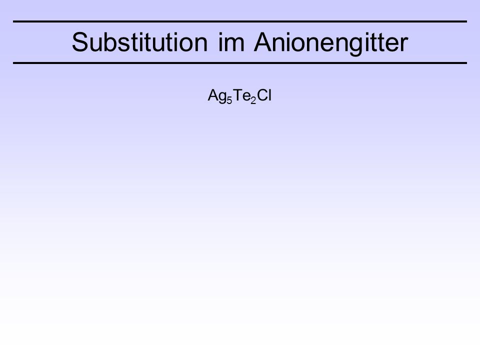 Substitution im Anionengitter Ag 5 Te 2 Cl