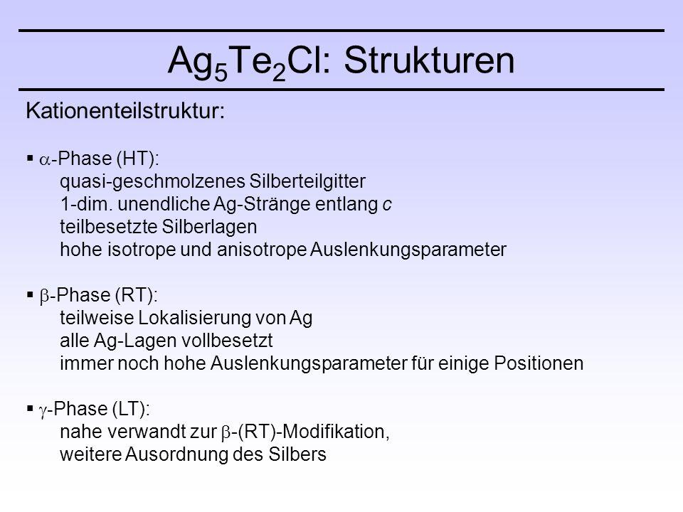 Kationenteilstruktur:   - Phase (HT): quasi-geschmolzenes Silberteilgitter 1-dim.