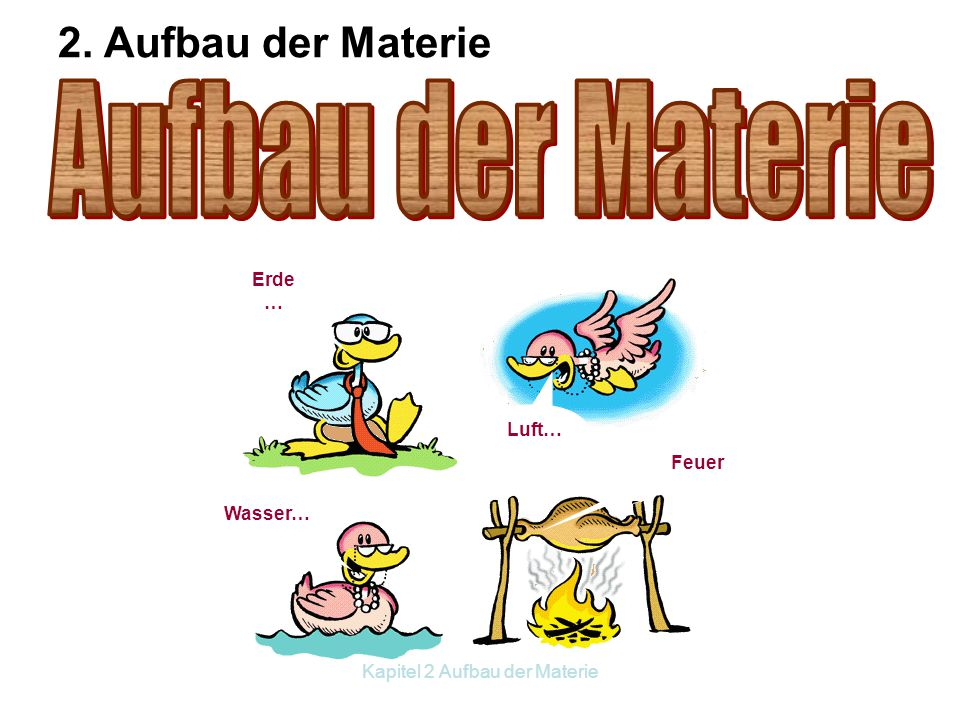 Kapitel 2 Aufbau der Materie Erde … Wasser… Luft… Feuer 2. Aufbau der Materie