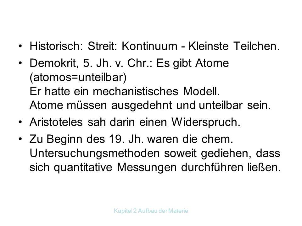 Kapitel 2 Aufbau der Materie Historisch: Streit: Kontinuum - Kleinste Teilchen.