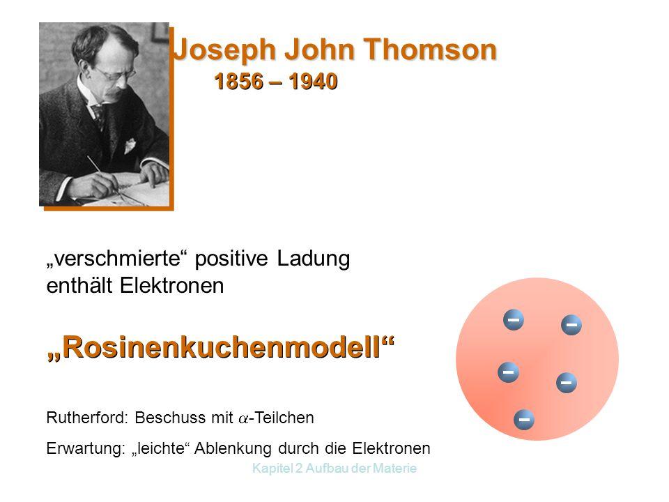 "Kapitel 2 Aufbau der Materie 1856 – 1940 ""Rosinenkuchenmodell Joseph John Thomson ""verschmierte positive Ladung enthält Elektronen Rutherford: Beschuss mit  -Teilchen Erwartung: ""leichte Ablenkung durch die Elektronen"