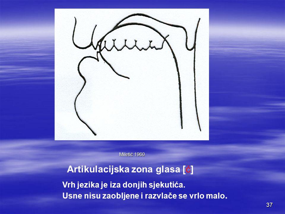 36 Artikulacijska zona glasa [č] Miletić 1960 Vrh jezika uzdignut i dodiruje tvrdo nepce.