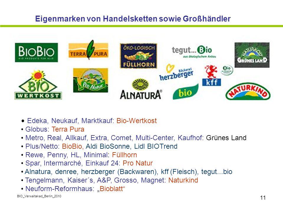 BIO_Verwaltakad_Berlin_2010 11 Edeka, Neukauf, Marktkauf: Bio-Wertkost Globus: Terra Pura Metro, Real, Allkauf, Extra, Comet, Multi-Center, Kaufhof: G