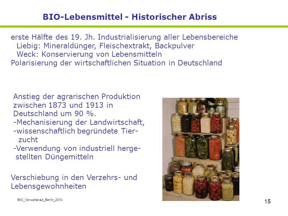 BIO_Verwaltakad_Berlin_2010 15 erste Hälfte des 19. Jh. Industrialisierung aller Lebensbereiche Liebig: Mineraldünger, Fleischextrakt, Backpulver Weck
