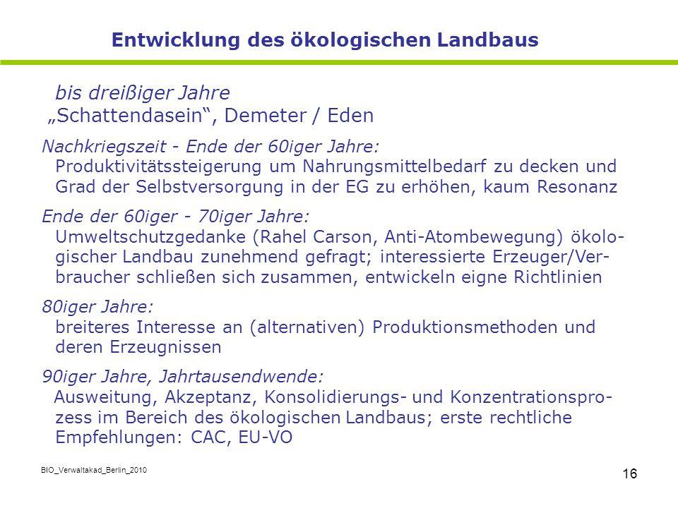 """BIO_Verwaltakad_Berlin_2010 16 bis dreißiger Jahre """"Schattendasein"""", Demeter / Eden Nachkriegszeit - Ende der 60iger Jahre: Produktivitätssteigerung u"""
