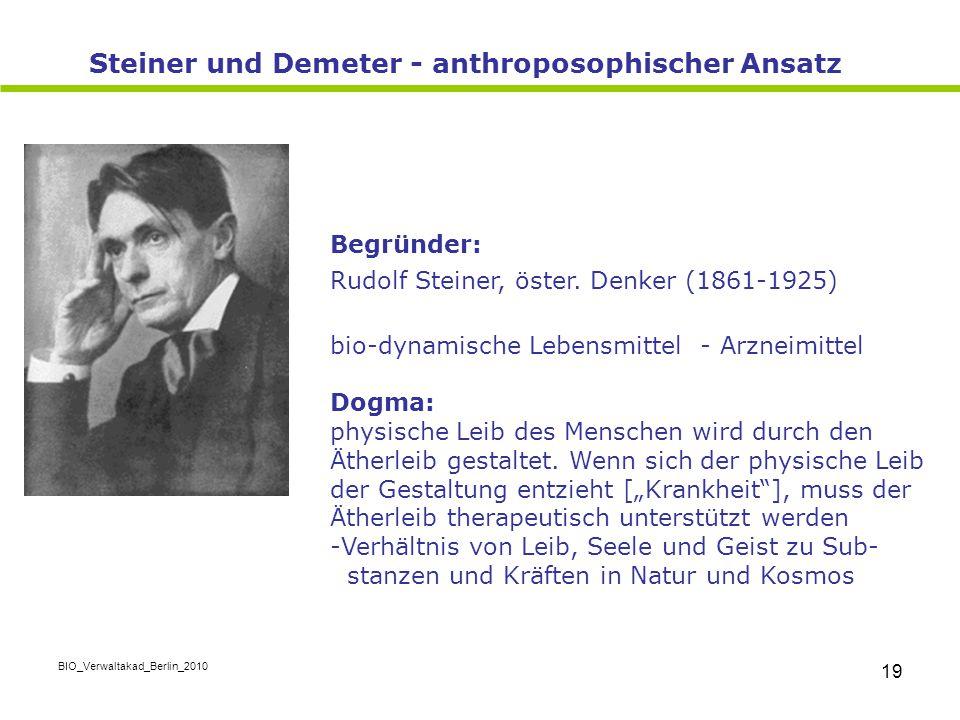 BIO_Verwaltakad_Berlin_2010 19 Begründer: Rudolf Steiner, öster. Denker (1861-1925) bio-dynamische Lebensmittel - Arzneimittel Dogma: physische Leib d