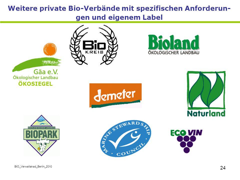 BIO_Verwaltakad_Berlin_2010 24 Weitere private Bio-Verbände mit spezifischen Anforderun- gen und eigenem Label ÖKOSIEGEL