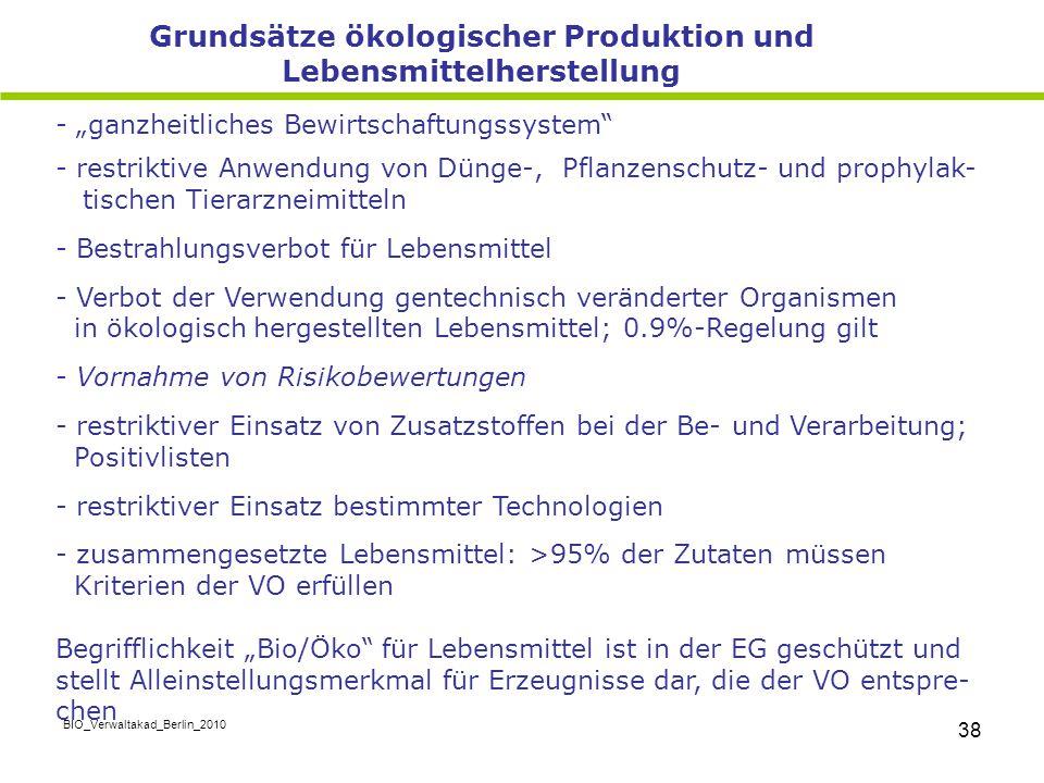 """BIO_Verwaltakad_Berlin_2010 38 - """"ganzheitliches Bewirtschaftungssystem"""" - restriktive Anwendung von Dünge-, Pflanzenschutz- und prophylak- tischen Ti"""