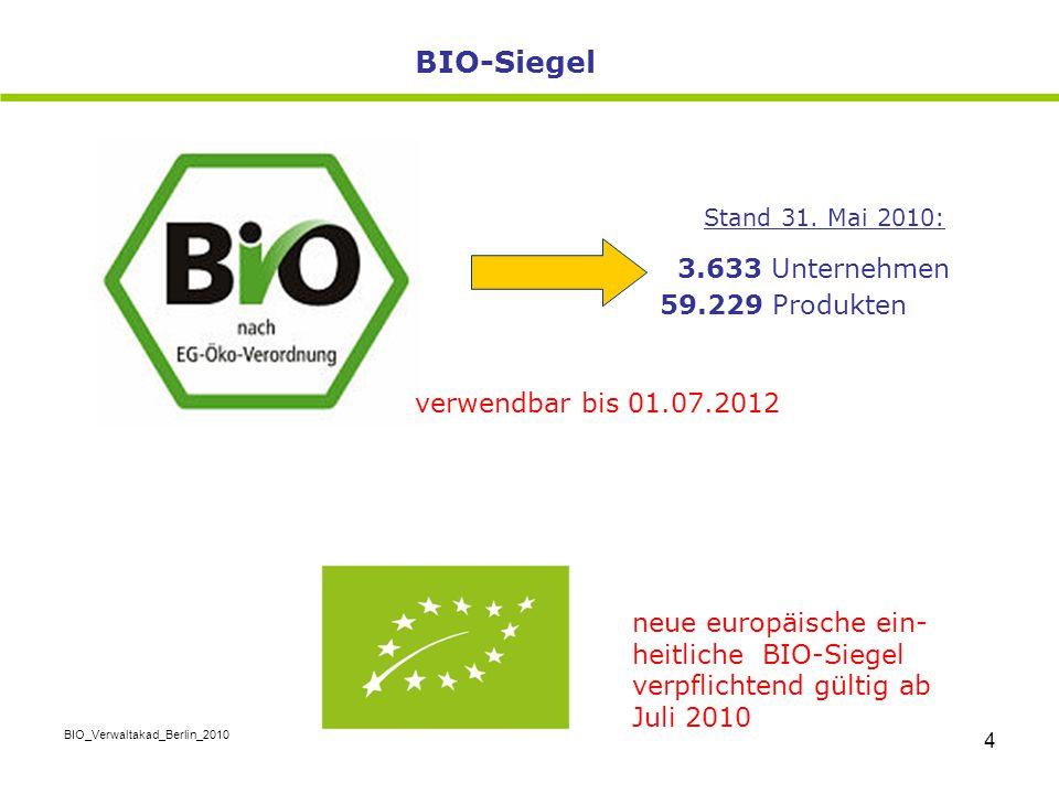 BIO_Verwaltakad_Berlin_2010 4 Stand 31. Mai 2010: 3.633 Unternehmen 59.229 Produkten BIO-Siegel neue europäische ein- heitliche BIO-Siegel verpflichte