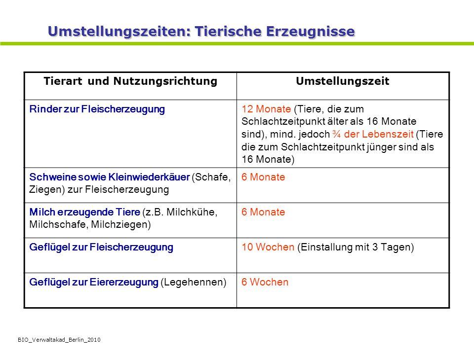 BIO_Verwaltakad_Berlin_2010 Tierart und NutzungsrichtungUmstellungszeit Rinder zur Fleischerzeugung12 Monate (Tiere, die zum Schlachtzeitpunkt älter a