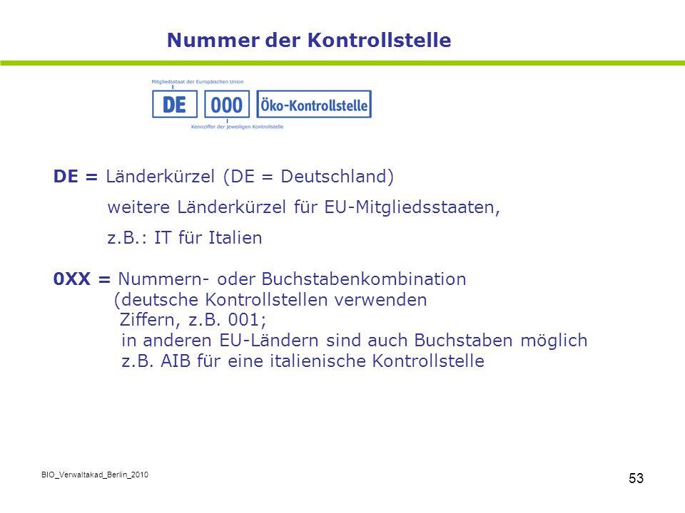 BIO_Verwaltakad_Berlin_2010 53 DE = Länderkürzel (DE = Deutschland) weitere Länderkürzel für EU-Mitgliedsstaaten, z.B.: IT für Italien 0XX = Nummern-