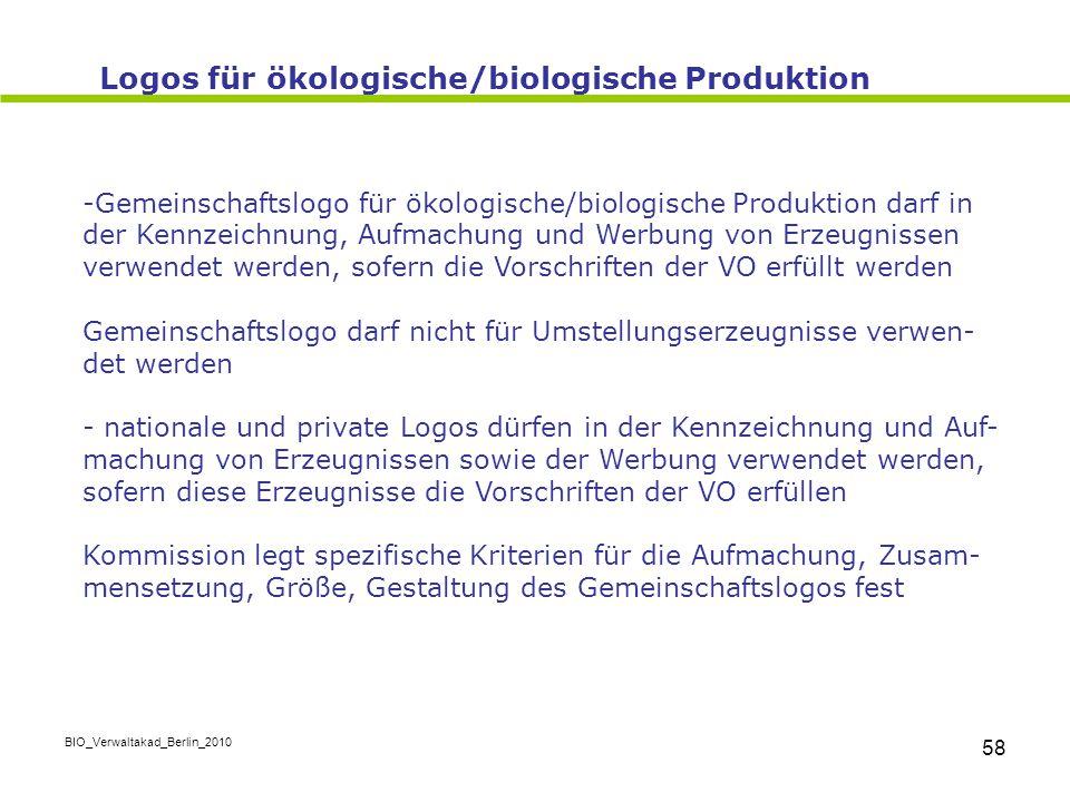 BIO_Verwaltakad_Berlin_2010 58 -Gemeinschaftslogo für ökologische/biologische Produktion darf in der Kennzeichnung, Aufmachung und Werbung von Erzeugn