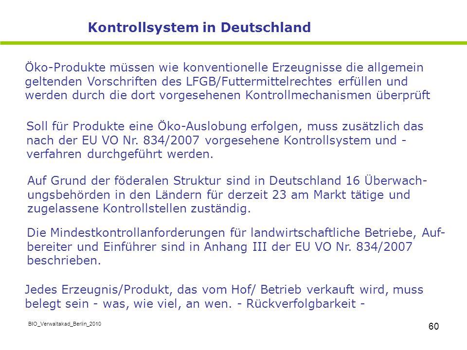 BIO_Verwaltakad_Berlin_2010 60 Öko-Produkte müssen wie konventionelle Erzeugnisse die allgemein geltenden Vorschriften des LFGB/Futtermittelrechtes er