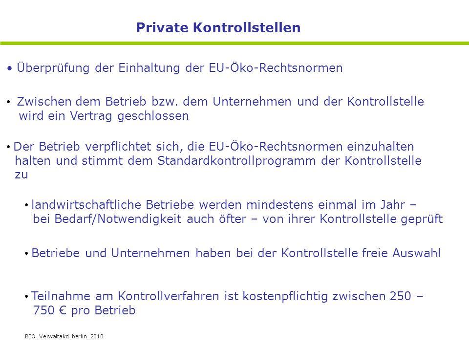 BIO_Verwaltakd_berlin_2010 Zwischen dem Betrieb bzw. dem Unternehmen und der Kontrollstelle wird ein Vertrag geschlossen Der Betrieb verpflichtet sich