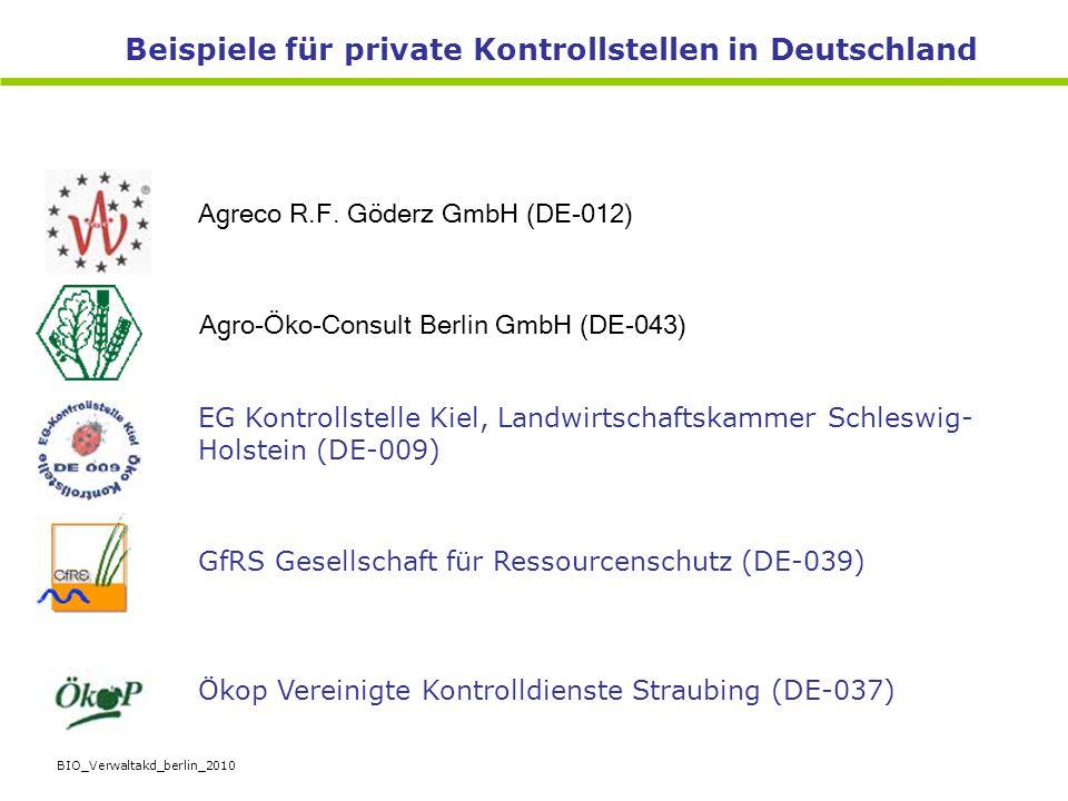 BIO_Verwaltakd_berlin_2010 Beispiele für private Kontrollstellen in Deutschland Agreco R.F. Göderz GmbH (DE-012) Agro-Öko-Consult Berlin GmbH (DE-043)