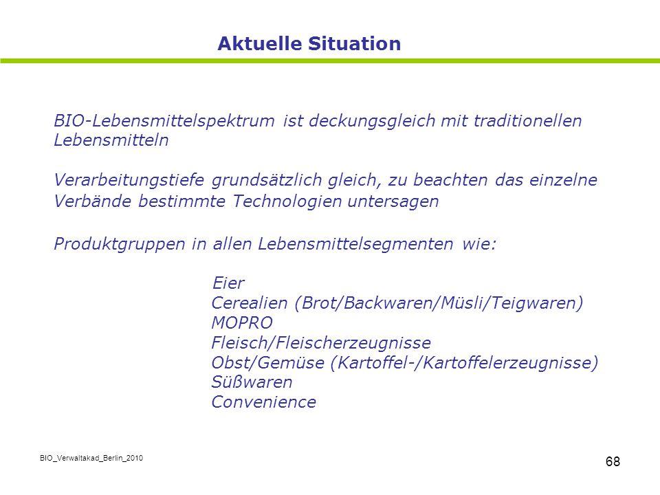 BIO_Verwaltakad_Berlin_2010 68 BIO-Lebensmittelspektrum ist deckungsgleich mit traditionellen Lebensmitteln Verarbeitungstiefe grundsätzlich gleich, z
