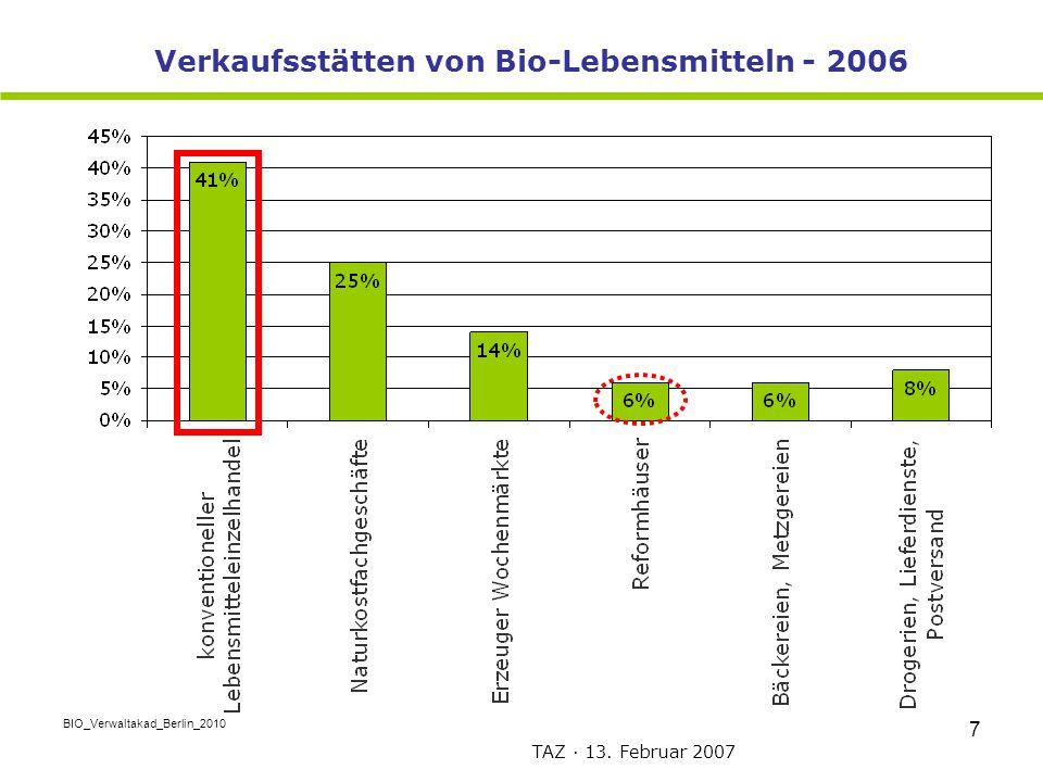 BIO_Verwaltakad_Berlin_2010 7 Verkaufsstätten von Bio-Lebensmitteln - 2006 TAZ · 13. Februar 2007