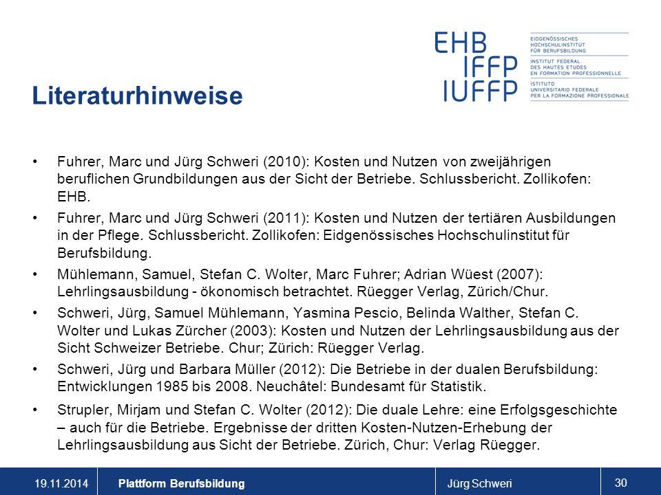 19.11.2014Jürg Schweri 30 Literaturhinweise Fuhrer, Marc und Jürg Schweri (2010): Kosten und Nutzen von zweijährigen beruflichen Grundbildungen aus der Sicht der Betriebe.