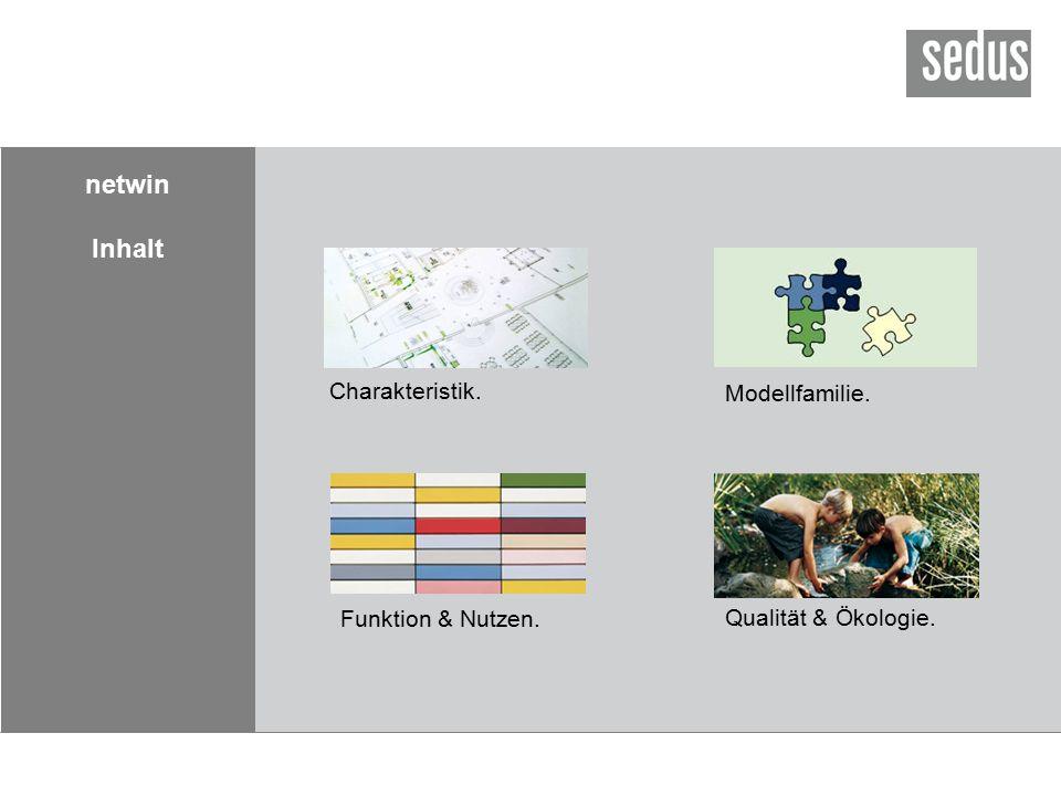 netwin Inhalt Charakteristik. Modellfamilie. Qualität & Ökologie. Funktion & Nutzen.