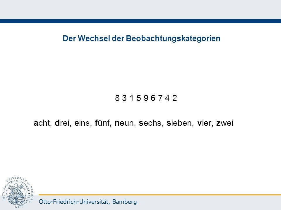Otto-Friedrich-Universität, Bamberg Der Wechsel der Beobachtungskategorien 8 3 1 5 9 6 7 4 2 acht, drei, eins, fünf, neun, sechs, sieben, vier, zwei