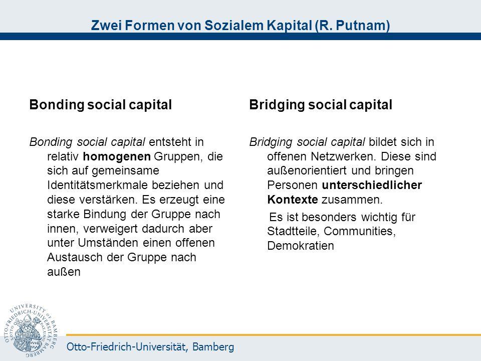 Otto-Friedrich-Universität, Bamberg Zwei Formen von Sozialem Kapital (R. Putnam) Bonding social capital Bonding social capital entsteht in relativ hom