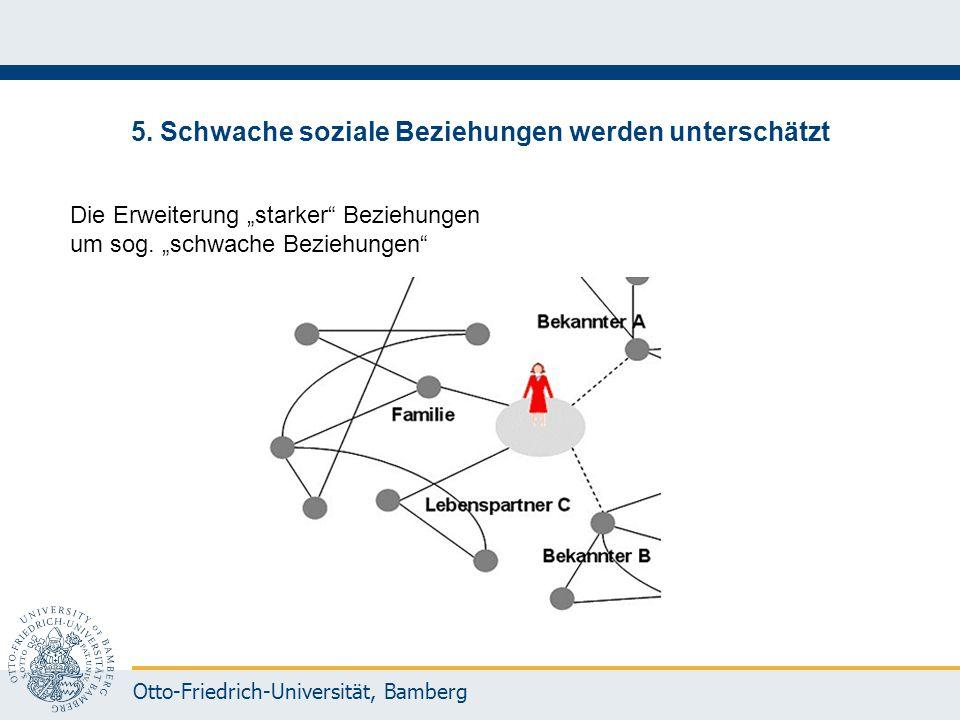 """Otto-Friedrich-Universität, Bamberg 5. Schwache soziale Beziehungen werden unterschätzt Die Erweiterung """"starker"""" Beziehungen um sog. """"schwache Bezieh"""