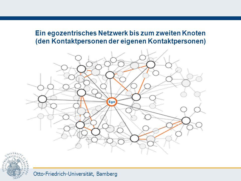 Otto-Friedrich-Universität, Bamberg Ein egozentrisches Netzwerk bis zum zweiten Knoten (den Kontaktpersonen der eigenen Kontaktpersonen)