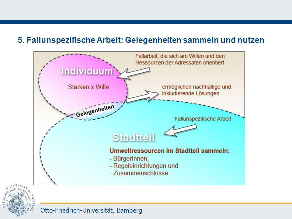 Otto-Friedrich-Universität, Bamberg 5. Fallunspezifische Arbeit: Gelegenheiten sammeln und nutzen