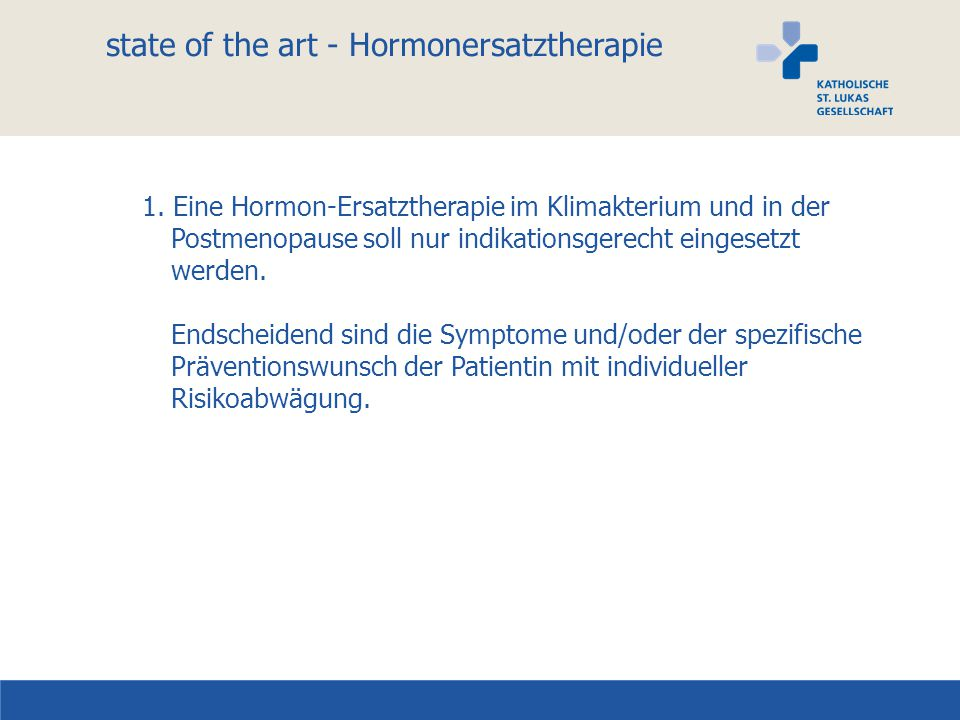 state of the art - Hormonersatztherapie 1.