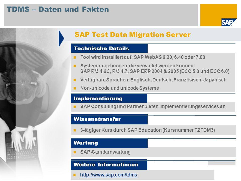 © SAP 2008 / Page 14 TDMS – Daten und Fakten Tool wird installiert auf: SAP WebAS 6.20, 6.40 oder 7.00 Systemumgebungen, die verwaltet werden können: