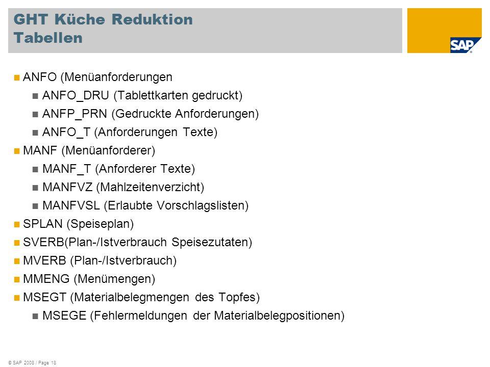 © SAP 2008 / Page 18 GHT Küche Reduktion Tabellen ANFO (Menüanforderungen ANFO_DRU (Tablettkarten gedruckt) ANFP_PRN (Gedruckte Anforderungen) ANFO_T