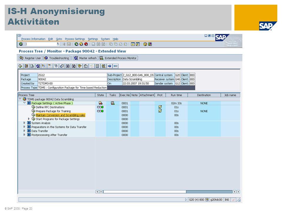 © SAP 2008 / Page 20 IS-H Anonymisierung Aktivitäten