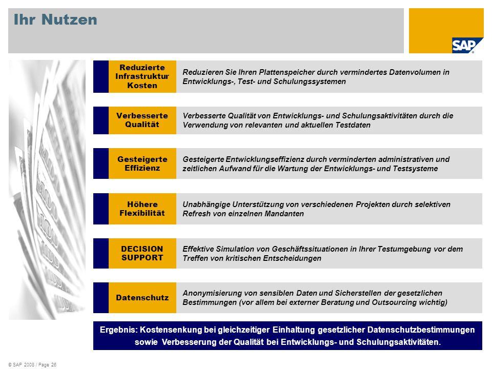 © SAP 2008 / Page 26 Ihr Nutzen Reduzierte Infrastruktur Kosten Reduzieren Sie Ihren Plattenspeicher durch vermindertes Datenvolumen in Entwicklungs-,