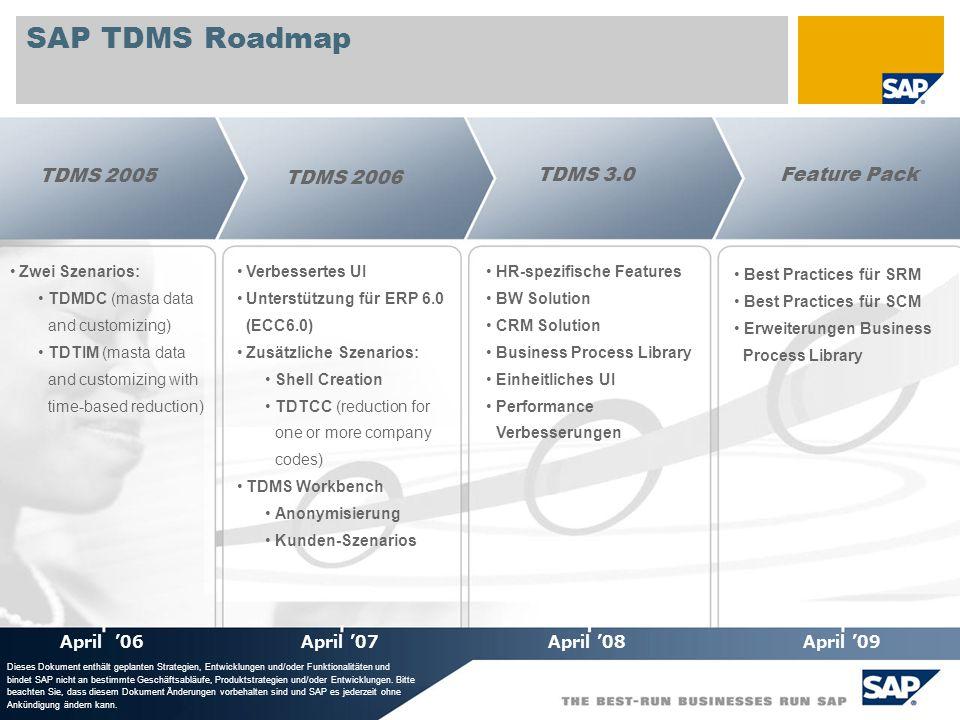 © SAP 2008 / Page 29 SAP TDMS Roadmap HR-spezifische Features BW Solution CRM Solution Business Process Library Einheitliches UI Performance Verbesser